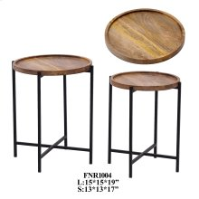 S/2 IRON STOOL WITH WOOD TOP, 1SET / 2.6'
