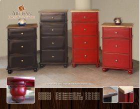 """33"""" tall, 3 drawer chest, RED finish"""