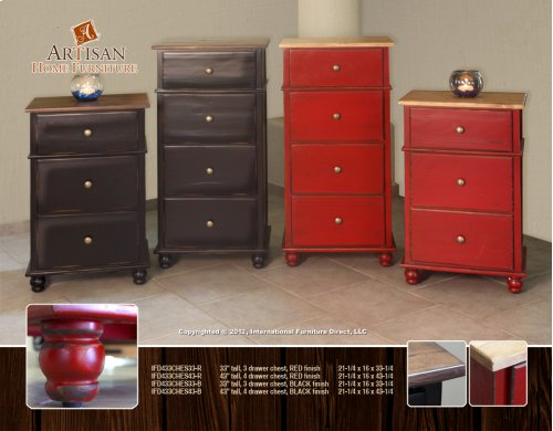 """43"""" tall, 4 drawer chest, RED finish"""