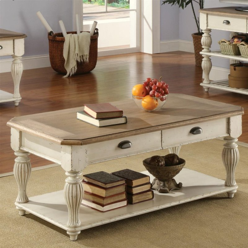 Coventry Two Tone Rectangular Coffee Table Weathered Driftwood Dover White Finish