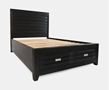Altamonte Queen Footboard W/2 Drawers, Slats - Brushed Grey