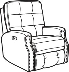 Devon Fabric Power Rocking Recliner with Power Headrest and Nailhead Trim