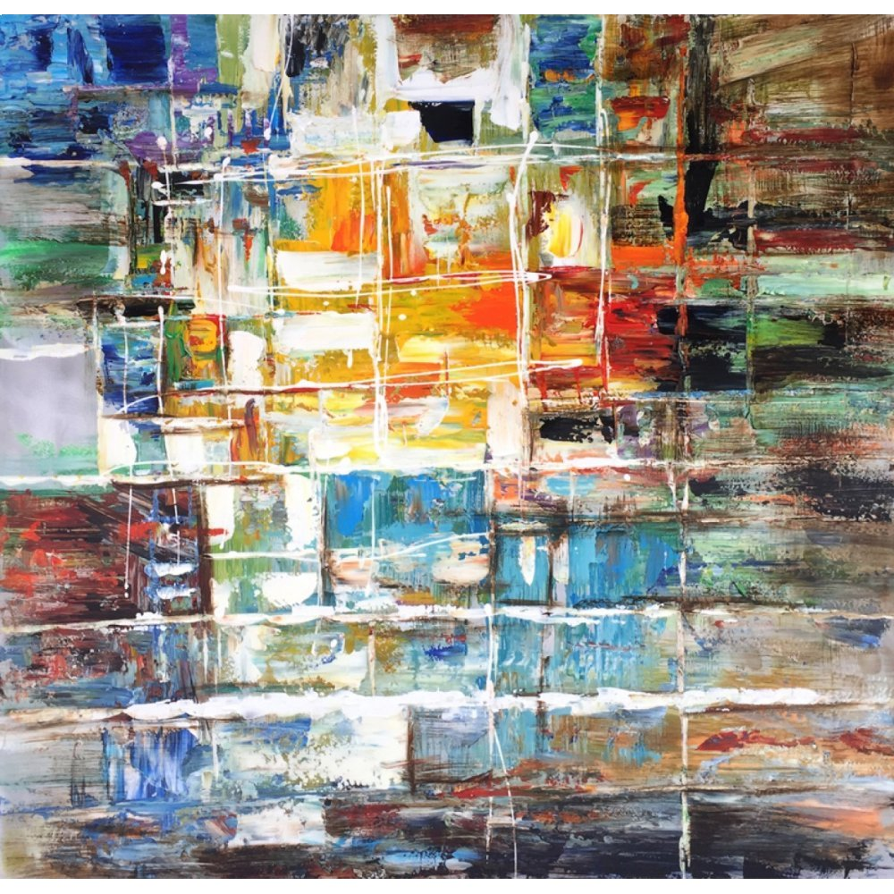 "Modrest 39"" x 39"" Abstract Oil Painting"