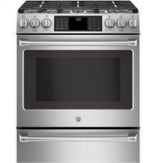 """GE Café Series 30"""" Slide-In Front Control Dual-Fuel Range with Warming Drawer"""