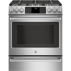 "GE CafeGE CAFEGE Caf(eback) Series 30"" Slide-In Front Control Dual-Fuel Range with Warming Drawer"