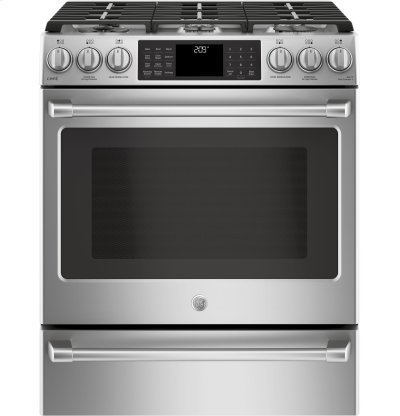 "GE Café Series 30"" Slide-In Front Control Dual-Fuel Range with Warming Drawer Product Image"