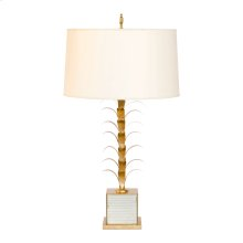 """Gold Leaf and Antique Mriror Lamp Base. Ships as Shown W. 15"""" Diameter Parchment Paper Shade."""