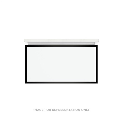 """Profiles 30-1/8"""" X 15"""" X 18-3/4"""" Framed Single Drawer Vanity In Satin White With Matte Black Finish, Slow-close Plumbing Drawer and Selectable Night Light In 2700k/4000k Color Temperature"""