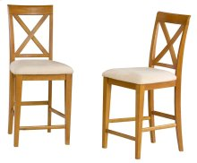 Lexi Pub Chairs Set of 2 with Oatmeal Cushion in Caramel Latte