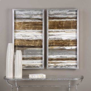 Metallic Layers Hand Painted Canvases, S/2