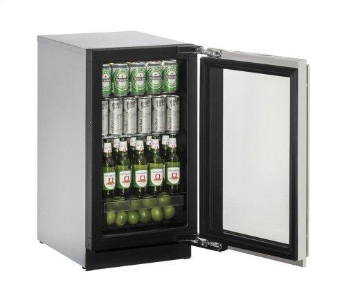 "18"" Glass Door Refrigerator Stainless Frame Right-Hand Hinge"