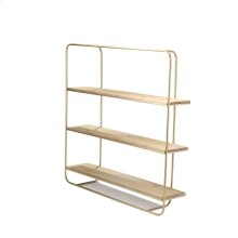 Metal / Wood 3 Tier Wall Shelf, Gold