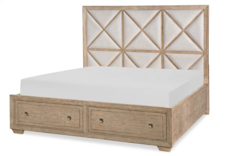 Bridgewater Upholstered Bed w/Storage Footboard, CA King 6/0