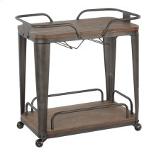 Oregon Bar Cart - Antique Metal, Espresso Bamboo