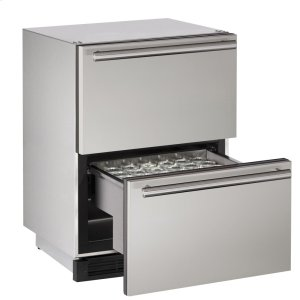"U-Line Outdoor Series 24"" Outdoor Refrigerator Drawers With Stainless Solid Finish And Drawers Door Swing (115 Volts / 60 Hz)"