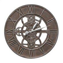 "Gear 21"" Indoor Outdoor Wall Clock - Weathered Iron"
