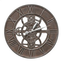 "Gear 21"" Indoor Outdoor Wall Clock - Weathered Iron"