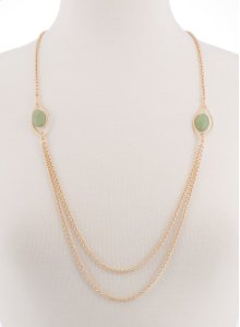 BTQ Gold Double Chain with Green Stones