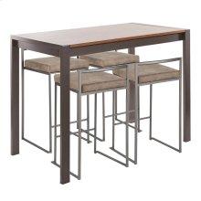 Fuji 5-piece Counter Set - Antique Metal, Walnut Wood, Brown Cowboy Fabric