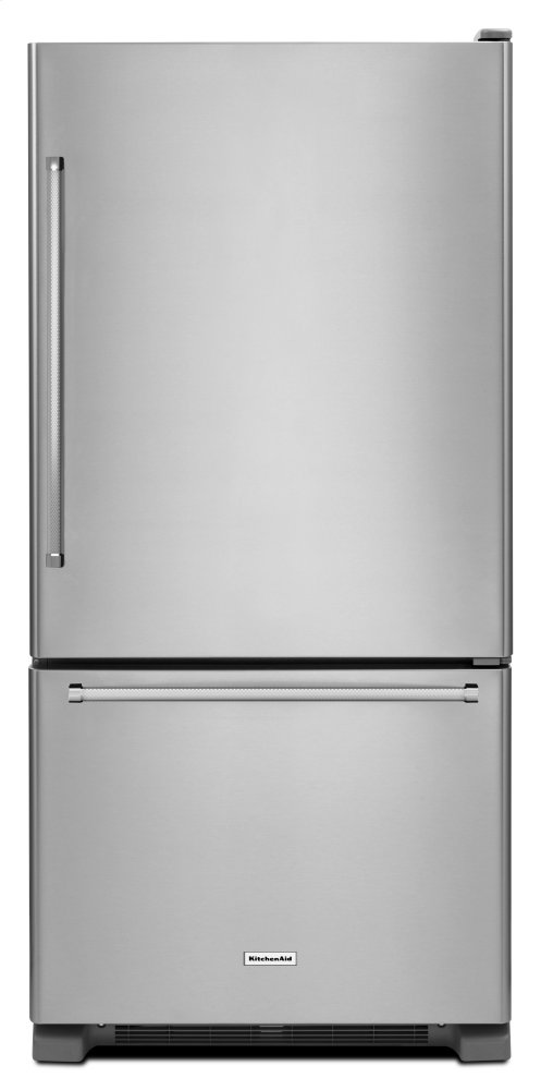 Kitchenaid22 Cu. Ft. 33-Inch Width Full Depth Non Dispense Bottom Mount Refrigerator - Stainless Steel