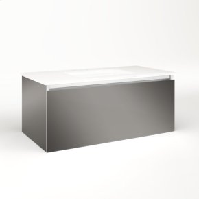 """Cartesian 36-1/8"""" X 15"""" X 18-3/4"""" Single Drawer Vanity In Tinted Gray Mirror With Slow-close Plumbing Drawer and Night Light In 5000k Temperature (cool Light)"""