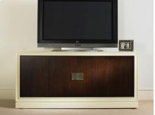 Entertainment Console With Upholstered Door Fronts