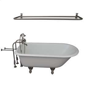 "Brocton 68"" Cast Iron Roll Top Tub Kit - Brushed Nickel Accessories - White"