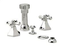 Four Hole Bidet Set Cross Handles - Polished Brass