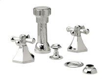 Four Hole Bidet Set Cross Handles - Polished Brass