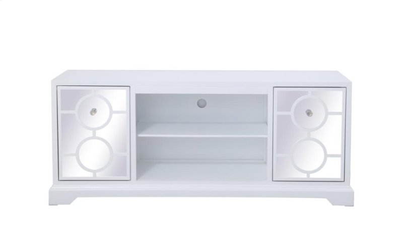 Mf801wh In By Elegant Lighting In 60 In Mirrored Tv Stand In White