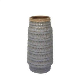 """Ceramic 12.25"""" Tribal Look Vase, Gray"""
