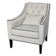 Halstead Button Tufted Linen Lounge Chair w/ Contrast Welt Product Image