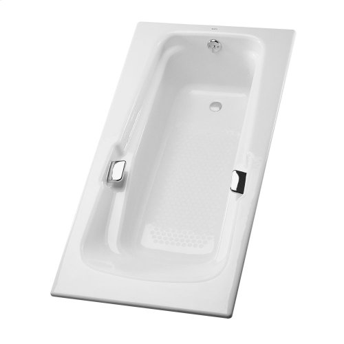 "Enameled Cast Iron Bathtub 60-3/8"" x 36-1/4"" x 22-1/4"" - Cotton"