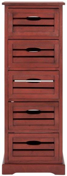 Sarina 5 Drawer Cabinet - Red