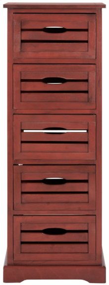 Sarina 5 Drawer Cabinet - Red