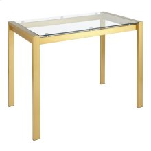Fuji Counter Table - Gold Metal, Clear Glass