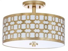 Cedar Linked 3 Light 15-inch Dia Goldflush Mount - Gold Shade Color: Off-White