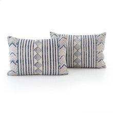 "16x24"" Size Faded Blue Diamond Pillow, Set of 2"