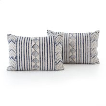"16x24"" Size Faded Blue Diamond Pillow, Set of 2"