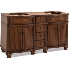 """60"""" double vanity with walnut finish and simple bead board doors and curved shape."""