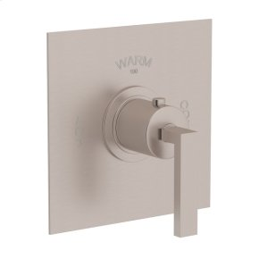 Satin Nickel Wave Thermostatic Trim Without Volume Control with Metal Lever
