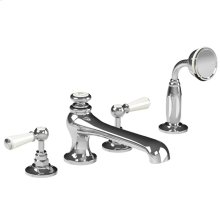 White lever 4-hole bath set with diverter & pull-out metal finish hand shower trim only, to suit R1-4025 rough