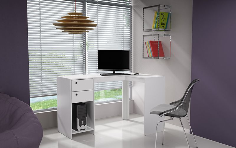 Palermo Classic L- Desk with 2 drawers and 1 cubby in White