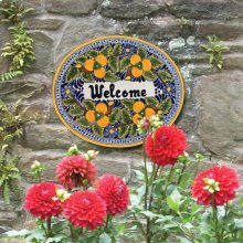 'Welcome' Ceramic Plaque in Peaches
