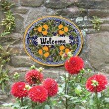 'Welcome' Ceramic Plaque in Peaches
