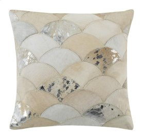 METALLIC SCALE COWHIDE PILLOW - White / Silver - White / Silver