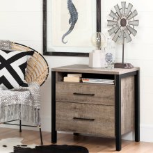 2-Drawer Nightstand - End Table with Storage - Weathered Oak and Matte Black