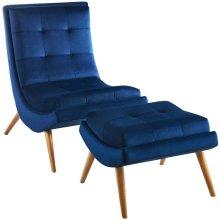 Ramp Upholstered Performance Velvet Lounge Chair and Ottoman Set in Navy