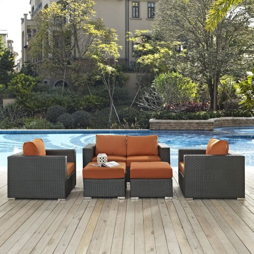 Sojourn 5 Piece Outdoor Patio Sunbrella® Sectional Set in Canvas Tuscan