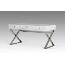 A&X Congress Transitional White Crocodile Desk